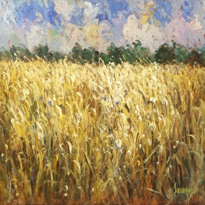 SAMIR SAMMOUN - Wheat Field - Oil on Canvas - 24 x 30 inches