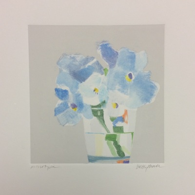 BETTY BALL - Blue Pansies - Monoprint on Paper - 6x6 inches