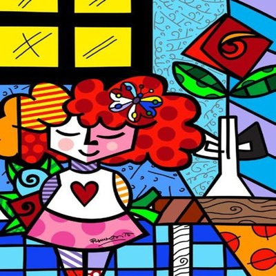 ROMERO BRITTO - The Good Girl - Mixed Media Paper - 26x32 inches