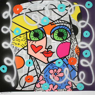 ROMERO BRITTO - Urban Look - Mixed Media on Paper - 37x36 inches