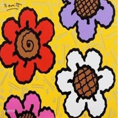 ROMERO BRITTO - Sunflower - Acrylic on Canvas - 12x16 inches