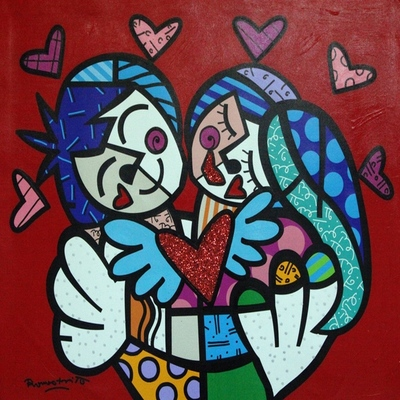 ROMERO BRITTO - Kisses & Hugs - Mixed Media Canvas - 24x30 inches