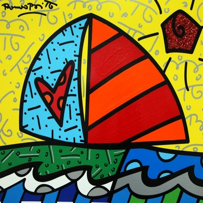 ROMERO BRITTO - From the Island - Mixed Media Canvas - 16x20 inches