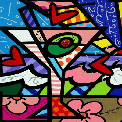 ROMERO BRITTO - Martini - Mixed Media Canvas - 16x20 inches