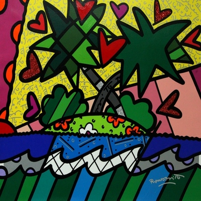 ROMERO BRITTO - Love Island - Mixed Media Canvas - 24x30 inches
