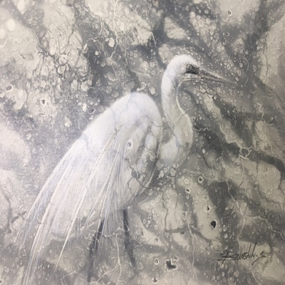 Title: White Egret l , Size: 12x16 inches , Medium: Oil on Canvas