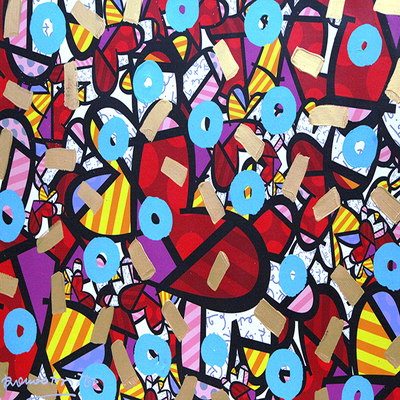 ROMERO BRITTO - Party Time - Mixed Media on Canvas - 26.75 x 36 inches