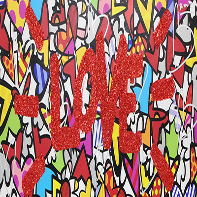 ROMERO BRITTO - Love You! - Mixed Media on Canvas - 15.75 x 40.75 inches