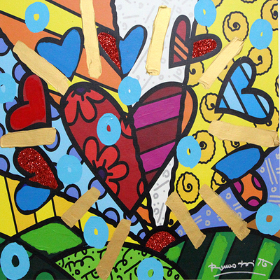ROMERO BRITTO - New Day - Mixed Media on Canvas - 24 x 30 inches