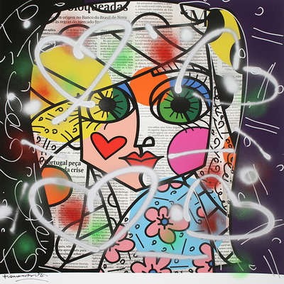 ROMERO BRITTO - Flash Lights - Mixed Media on Paper - 37.5 x 36 inches