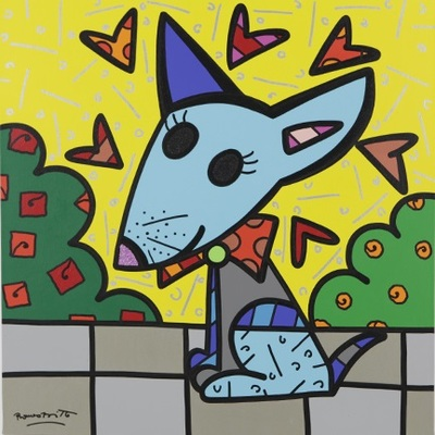ROMERO BRITTO - Mexico (Dog) - Original on Canvas - 36 x 36 inches