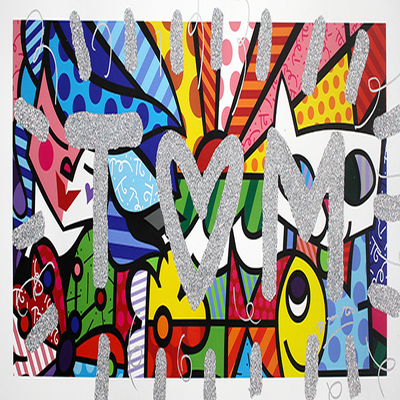 ROMERO BRITTO - Te Quiero Mucho - Mixed Media on Canvas - 20 x 45 inches