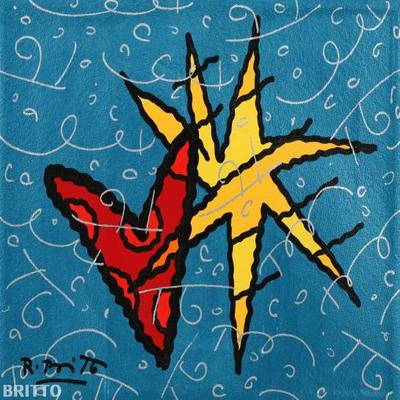 ROMERO BRITTO - Blue Sky - Original on Canvas - 11x 14 inches