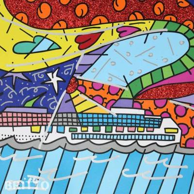 ROMERO BRITTO - Journey - Mixed Media on Canvas - 15 x 16 inches