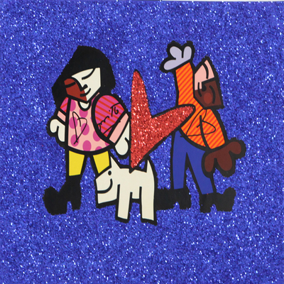 ROMERO BRITTO - Pet Love l - Original on Paper - 15 x 10.75 inches