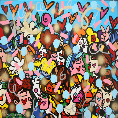 ROMERO BRITTO - Everybody - Mixed Media on Canvas - 30 x 40 inches