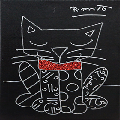 ROMERO BRITTO - Red Collar - Original on Canvas - 14 x 11 inches