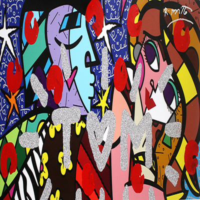 ROMERO BRITTO - Te Quiero Mucho - Mixed Media on Canvas - 20 x 44.5 inches