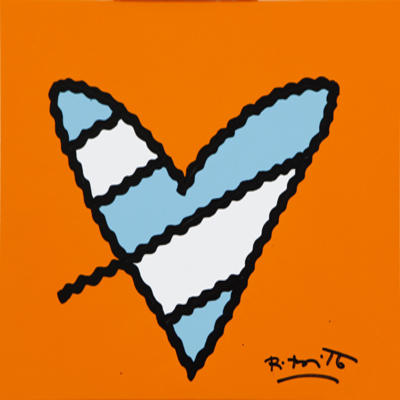 ROMERO BRITTO - Orange Love - Original on Canvas - 11 x 14 inches