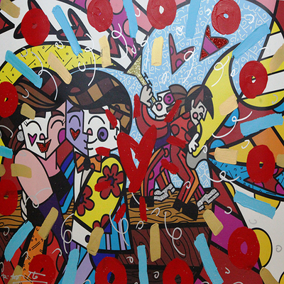 ROMERO BRITTO - Fun Time - Mixed Media on Canvas - 30 x 60 inches