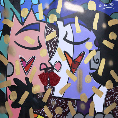 ROMERO BRITTO - Kisses - Mixed Media on Canvas - 30 x 40 inches