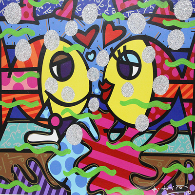 ROMERO BRITTO - Deep Love - Mixed Media on Canvas - 30 x 37.25 inches