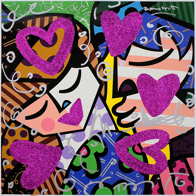 ROMERO BRITTO - Pink Love - Mixed Media on Canvas - 28.5 x 28.5 inches