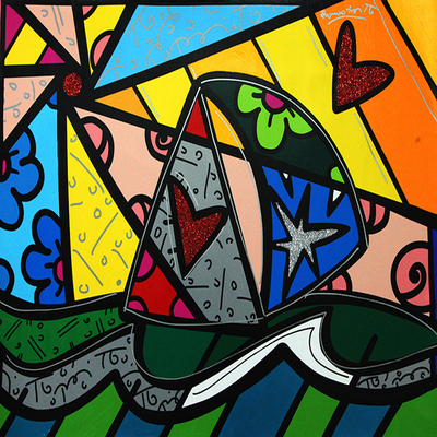 ROMERO BRITTO - Journey ll - Mixed Media on Canvas - 40 x 30 inches