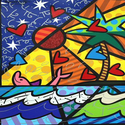 ROMERO BRITTO - Pink Dolphin - Mixed Media on Canvas - 40 x 30 inches