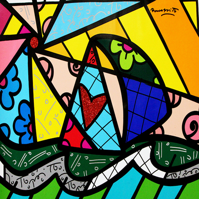 ROMERO BRITTO - Atlantic - Mixed Media on Canvas - 40 x 30 inches