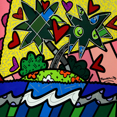 ROMERO BRITTO - Love Love - Mixed Media on Canvas - 16 x 20 inches