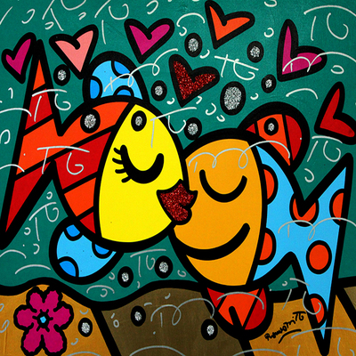 ROMERO BRITTO - The Keys - Mixed Media on Canvas - 24 x 30 inches