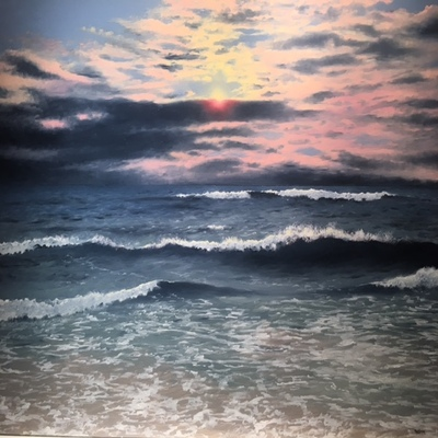 Title: Ocean Blue , Size: 30 x 40 inches , Medium: Oil on Canvas