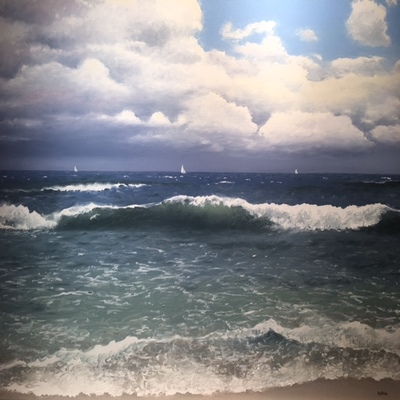 Title: Sails on the Horizon , Size: 30 x 40 inches , Medium: Oil on Canvas