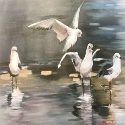 Title: Gulls , Size: 20x24 inches , Medium: Oil on Canvas