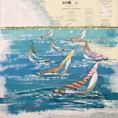 KERRY HALLAM - Havana to Tampa Bay - Acrylic on Chart - 30x45 inches