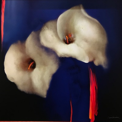 VICTORIA MONTESINOS - Royal Lilies - Embellished Giclee on Canvas - 40x40 inches