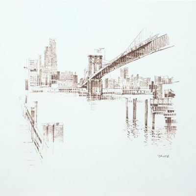 JOSEF KOTE - Brooklyn Bridge - Pastel on Paper - 22 x 30 inches