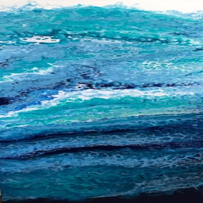 CLAIRE MAGUIRE - Water Column Series - Acrylic Resin Canvas - 12 x 36 inches
