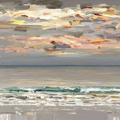 JOSEF KOTE - Where the Sky Meets the Sea - Embellished Giclee on Canvas - 48x48 inches