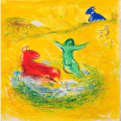 MARC CHAGALL - Daphnis and Chloe': The Wolf Pit - Color lithograph on Arches paper - 16.5 x 12 5/8 inches