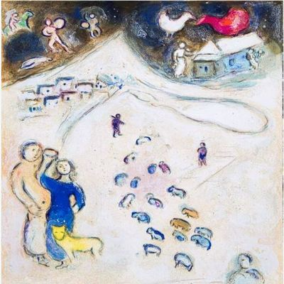 MARC CHAGALL - Daphnis and Chloe': Winter - Color lithograph on Arches paper - 16.5 x 12 5/8 inches