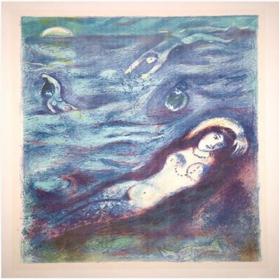 MARC CHAGALL - Four Tales from the Arabian Nights: Plate 5 - Color Lithograph on laid paper - 16 7/8 x 12 15/16 inches
