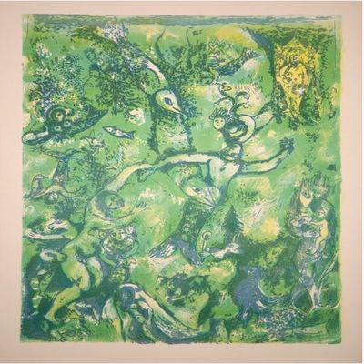 MARC CHAGALL - Four Tales from the Arabian Nights: Plate 9 - Color lithograph on laid paper - 16 7/8 x 13 inches