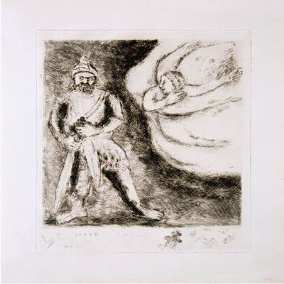 MARC CHAGALL - The Bible: Josue' arme'par l'e'ternel - Etching on Ve'lin paper - 17 3/4 x 13 inches