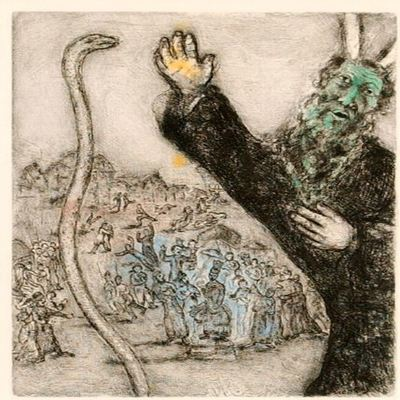 MARC CHAGALL - The Bible: Moses and the Serpent - Hand colored etching on wove paper -  inches