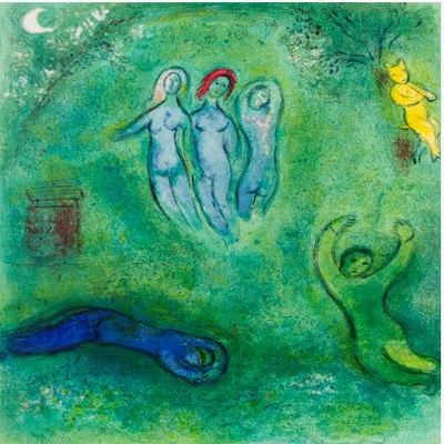 MARC CHAGALL - Daphnis and Chloé: Daphnis's Dream and the Nymphs - Color lithograph on Arches paper - 16 1/2 x 12 5/8  inches