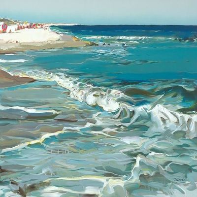 JOSEF KOTE - Turquoise Water - Acrylic on Canvas - 30x50 inches