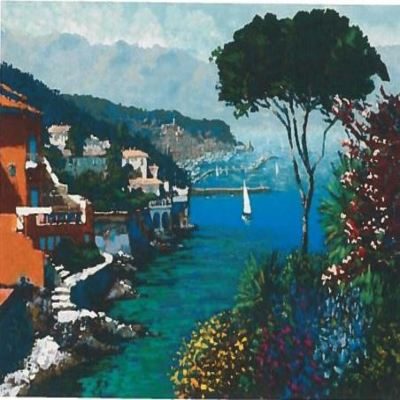 KERRY HALLAM - Eternal Riviera - Acrylic on Canvas - 27x36 inches