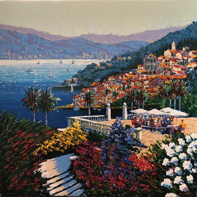 KERRY HALLAM - Coastal View - Embellished Serigraph on Canvas - 32x32 inches